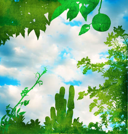 Grunge green garden page with trees, leaves, branches silhouettes against blue sky photo