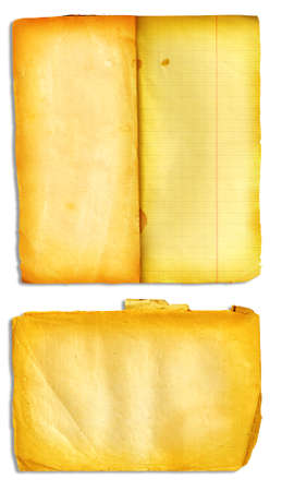 Grunge open books with stained and folded pages photo