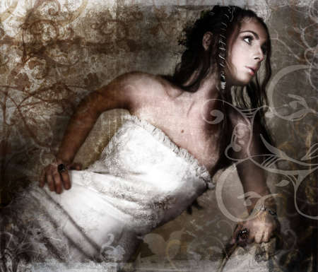 Grunge bride in white lace dress and long braided hair on vintage texture with swirls and scrolls made from my designsr