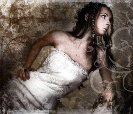 trenzas en el cabello: Grunge novia en traje de encaje blanco y cabello largo trenzado en la textura de �poca con remolinos y pergaminos elaborados a partir de mis dise�os  Foto de archivo