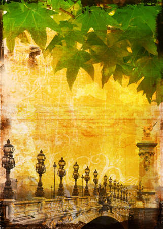 france painted: Grunge bridge in Paris with row of lamps and green leaf texture