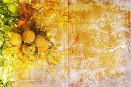 lemon tree: Grunge lemon tree on painted background with swirls and scrolls