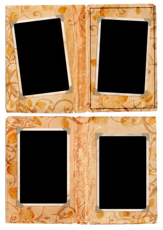 Grunge album pages with empty photo frames and corners, floral swirls Stock Photo - 2734007