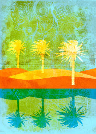 Three white vector palms on sand dunes with reflection in water, swirls and scrolls texture Stock Photo - 2734021