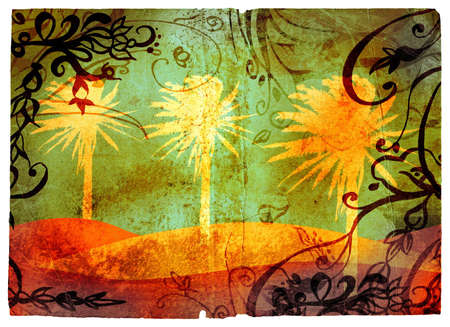 Grunge page with palms on the beach illustration, swirls and scrolls border illustration