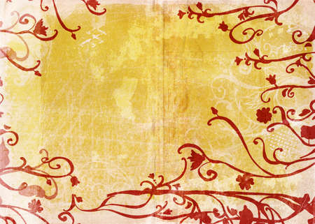 floral swirls: Grunge page with rich texture and red floral swirls border