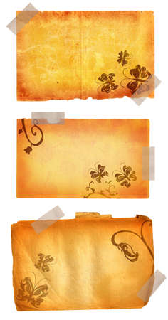 masking: Grunge pages with masking tape, butterfly illustrations Stock Photo