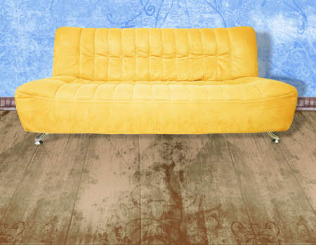 sitter: Illustration of yellow couch on wooden floor against grunge blue wall