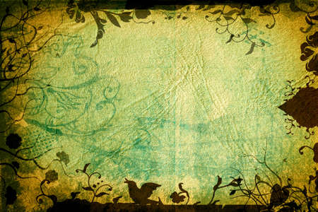 Grunge page with paper texture and floral borders with swirls, scrolls and nature elements Stock Photo