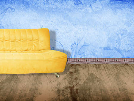 sofa furniture: Illustration of yellow couch on wooden floor against grunge blue wall