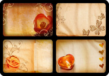 Grunge jumbo Ð 10x15cm Ð cards with  theme: flowers, hearts and butterfly designs Stock Photo - 2734000