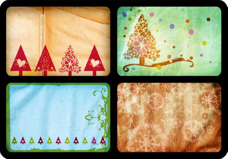 jumbo: Grunge set of Christmas tree retro style cards with tree and swirls patterns on paper background, each card jumbo size 10x15cm