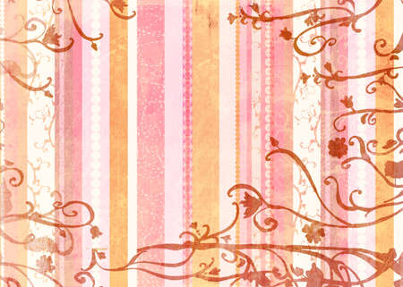 Grunge paper texture with pink and orange retro stripes on swirl background  photo