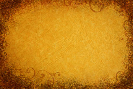 clipart wrinkles: Grunge background with rich paper texture and swirls and scrolls decorative border Stock Photo