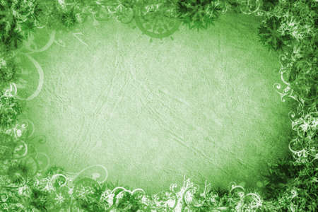 stationery border: Grunge background with rich paper texture and snowflakes swirls and scrolls decorative border in green Stock Photo