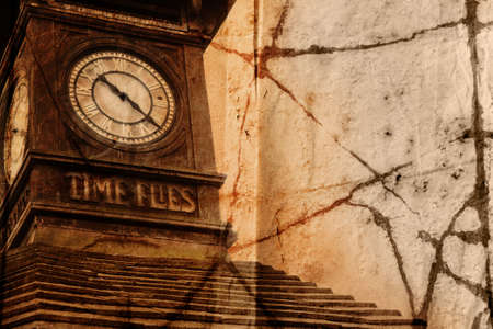 time frame: Grunge clock tower with words Time Flies carved in wood in London, Europe