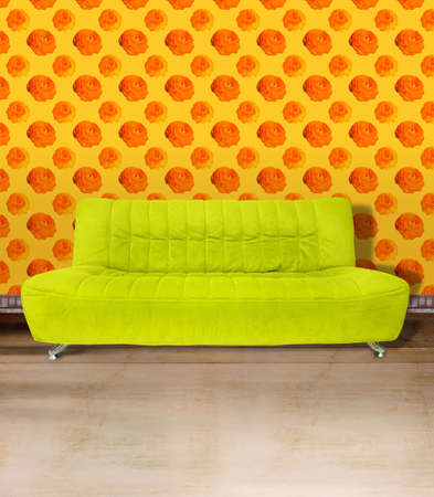 Lime green couch against poppy flower orange wallpaper and light brown concrete floor. Digital illustration from my images and designs. illustration