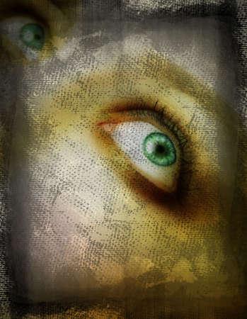 Grunge green eye on the canvas background  photo