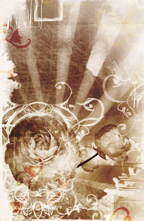 sun burnt: Grunge page design with lots of design elements, faded border, wet stains, abstract rays and flowers image