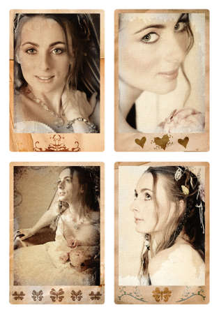 Grunge photo frames with bride in vintage finish Ð eyes are perfecty sharp, made from my photos and designs, clipping path for the outside and inside of the frame Stock Photo - 3234042