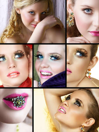 Set of beautiful woman in natural and fashion make-up with ring and earrings