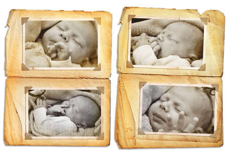 Grunge album pages with sepia pictures of a sleeping newborn baby, clip path incl
