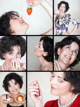 lifestyle collage of beautiful woman in early 40s with food and cosmetics elements