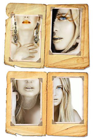 Collection of fashion images of blond model with gold leaf and long hair on grunge pages, clip path incl   photo