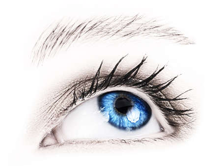 womans: Close-up of womans blue eye. Stock Photo