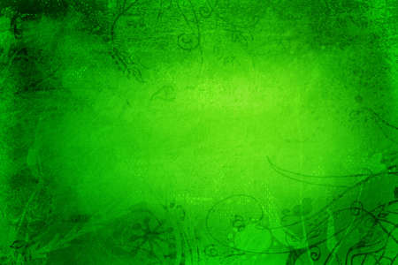 grubby: Grunge green page with grubby painted texture and hand-drawn illustrations Stock Photo
