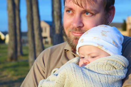 son and father  outside in evening sun- shot in natural light. Stock Photo - 4871967