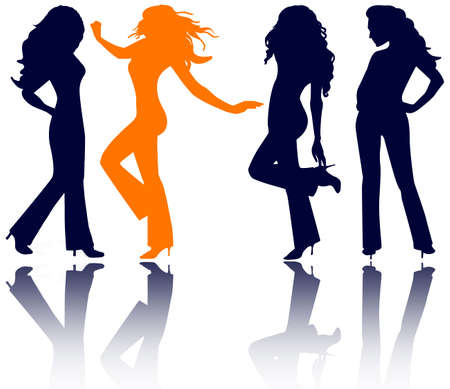 four women in jeans, high heels and long hair - silhouettes. photo