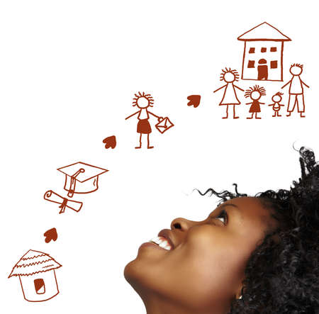 black empowerment: South African young woman dreaming about her success in the future. Stock Photo