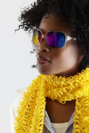 young African woman with fun disco sunglasses. Stock Photo - 6985343