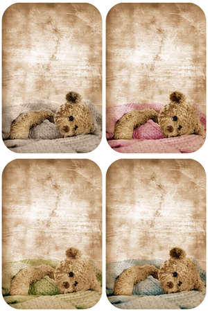 birthday teddy bear: set of four grunge cards with teddy bear in blanket and space for text.