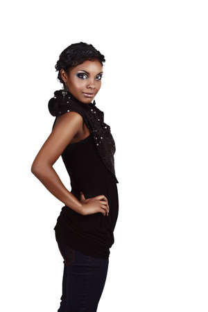 Beautiful African woman in jeans and top ready for a party Stock Photo - 6985351