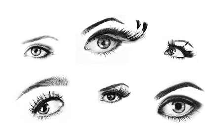 Ojos de mujer aislados de alta calidad retocar im�genes para usar como pinceles. Foto de archivo - 6985349
