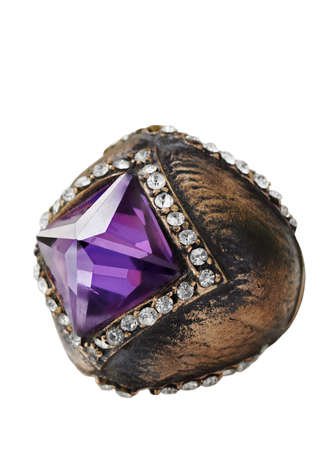 Ottoman style bronze ring with purple semi-precios stone . photo
