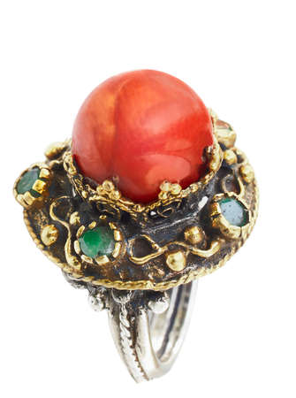 gemstone: Turkish Ottoman ring with coral and jade in gold and silver setting Stock Photo