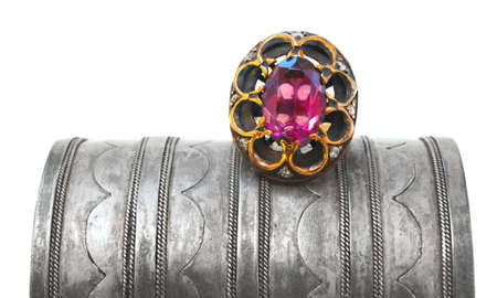 Turkish Ottoman ring with pink tourmaline on antique bracelet photo