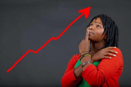 persoonlijke groei: illustratie van jonge Afrikaanse vrouw denken over persoonlijke groei
