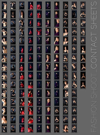 contact sheet of a professional fashion shoot for a beautiful brunette woman in five wardrobe changes, 145 images, unretouched photo