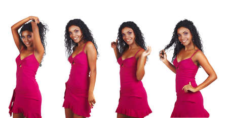 beautiful African woman with long curly hair dancing in short pink summer dress Stock Photo - 8215892