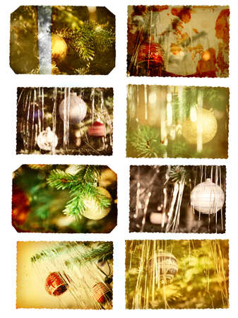 vintage postcards with christmas trees and glass balls in gold, red and silver photo