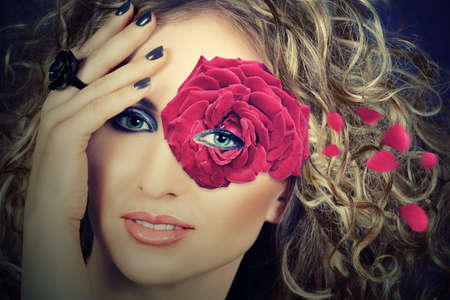 hair mask: beautiful blond woman with curly hair wears a single rose flower as a mask around her eye, vintage effecteffect