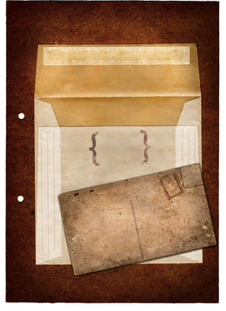 grunge vinatge parchment envelop and a postcard with space for text photo