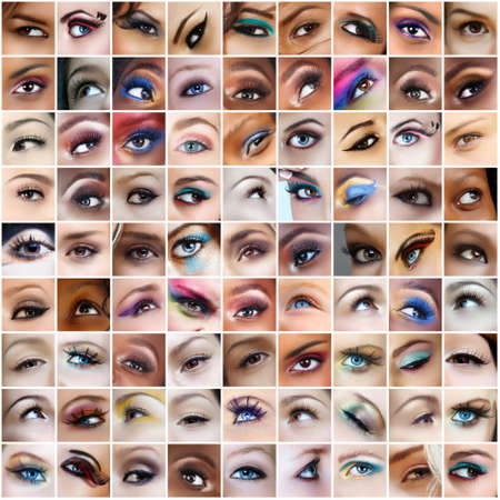 collection of 81 pictures of eyes with artistic make-up, models of different ethnicities. Banque d'images