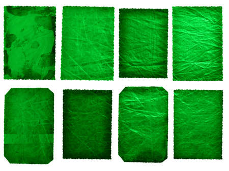 set of 8 antique cards with emerald green silver texture and grunge stains  photo