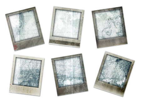set of six instant photo borders with Grunge paper background including scratches and swirls photo