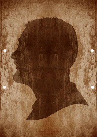vintage portrait: drawing of a man face in old-fashioned silhouette style on grunge background Stock Photo